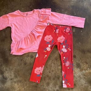 Old Navy Falls Creek Outfit 4T Pink Red Ruffles